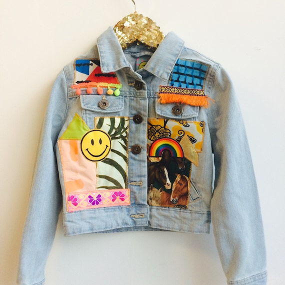 JUMP 4-5 Years Denim Jacket Upcycled with African fabric Pom Pom Trim A