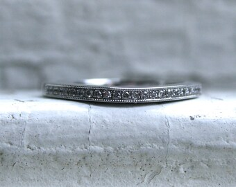 Curved Pave Vintage 14K White Gold Diamond Wedding Band.