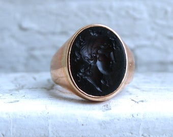 RESERVED - Lovely Vintage 14K Rose Gold Sard Intaglio Ring.