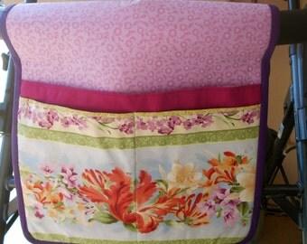 Walker Tote, Walker Caddy, Walker Bag, Pink and Orange Floral, Gift for Grandma or Mother