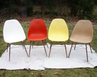 Four Mid Century Modern Sam Avedon Shell Chairs,  Alladin Plastic Bucket Seat Chair Set, Vintage Casual Dining