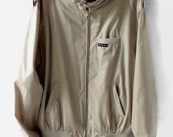Vintage Members Only Jacket, Retro Beige Tan Size 42L Windbreaker, 1980s Unisex Hipster Coat