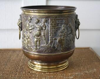 brass planter, vintage embossed brass planter, lion handle planter, Belgium brass plant, brass pot, rustic brass pot, European decor