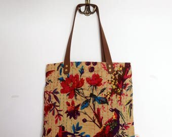 Embroidered fabric tote bag, colourful Indian handsewn cotton fabric, leather handles, market bag, everyday bag, boho bag. Ready to ship