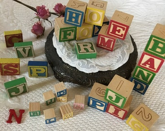 Craft Blocks in 3 Sizes. Vintage Blocks With Dimensional Letters and Drawn on Letters and Numbers.