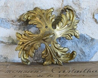 French gilded bronze chandelier hook, huge ceiling bracket for heavy light fittings