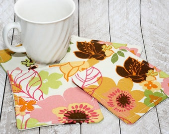 Floral Print Coasters, Set of 4