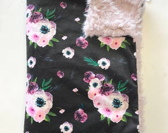 Black and Pink Floral Baby Girl Blanket. Baby MINKY Blanket, Flower Baby Bedding. Faux Fur Baby Blanket, Personalized Baby Girl Blanket