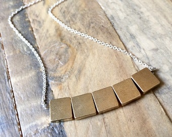 brass SQUARES sterling silver layering minimalist necklace