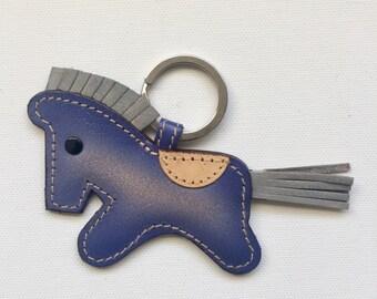 Leather Horse keychain & charm