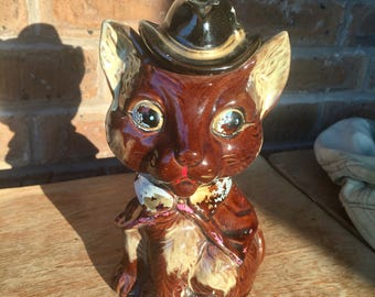 Fancy Fox Coin Bank in a Dapper Coat and Hat