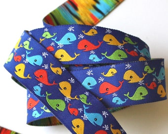 """Whale Woven Jacquard Ribbon , 1""""  Blue ground with Blue, Orange and Yellow Whales"""