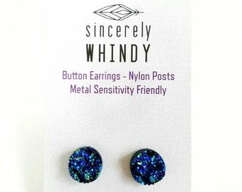 Faux Druzy, Blue, Nylon Post Earrings