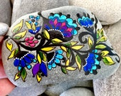 fresh picked boho / painted rocks /painted stones / rock art / stone art / paperweights /bohemian / hand painted rocks / boho decor