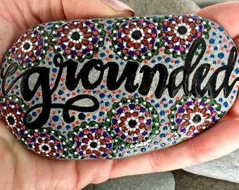 grounded / at peace / painted rocks / painted stones / altar art / paperweights / hand painted rocks / rock art/ peaceful / rocks