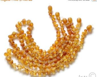 CHRISTMAS SALE Baltic Amber Baby Teething Necklace. Raw Unpolished Amber Beads