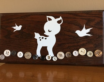 Baby Deer and Birds Wooden Sign with Buttons