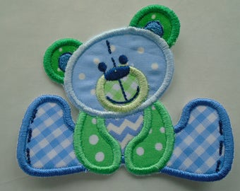 Stuffed Bear in blue and green embroidered iron on or sew on applique  patch