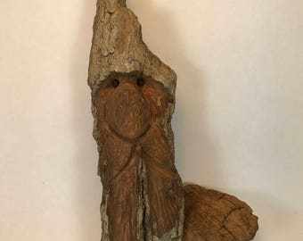Woodspirit carving,  gnome, elf, bark carving, cotton wood sculpture, spirit of the woods, cottonwood bark carving