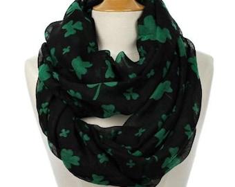 Infinity St Saint Patricks Day Clover Print Sheer Fashion Accessory Scarf Black