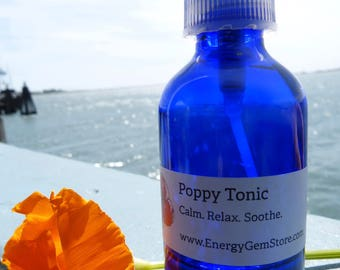 California Poppy Tonic. Calm. Relax. Soothe. Pure Organic Poppy. Seasonal and Fresh. Sacral Chakra. 2 Ounces.
