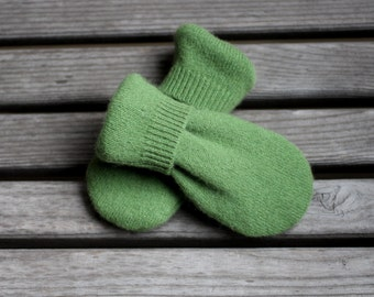 Newborn Infant Thumbless Mittens to 18m, Baby Cashmere Mittens, Green Sweater Mittens, Upcycled/Reclaimed Cashmere Mittens, Cashmere lined