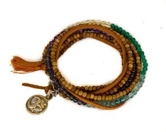 Chakra Wrap Bracelet Seven Precious Gems Sandalwood Silver Charm Silk Tassel - BR0009