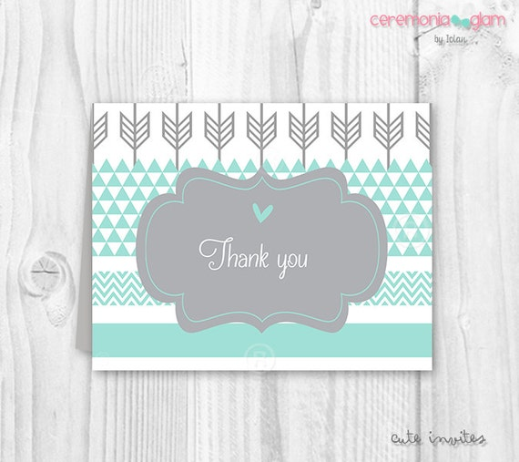 Baby Shower Thank You Cards For Baby Boy Printable Aqua And Grey