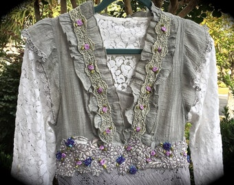 Izzy Roo  Romantic Dove Grey Vintage Style Dress Handkerchief Silhouette Plum Blossoms and Bridal Appliqués