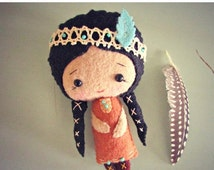HALLOWEEN SPECIAL SALE Native American Doll - Felt Doll - Small Doll - Girls Toy