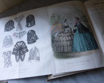 Antique Book, Journal des Demoiselles,French, Dated 1855 Complete with 9 Hand Coloured Fashion Plates. Plus 8 Black and White Ones.