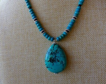 20 Inch Southwestern Dark Turquoise and Black Agate Teardrop Necklace with Earrings
