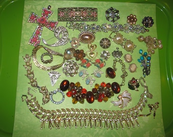 Destash Rhinestone Craft Lot of Vintage Jewelry, Brooches Earrings & More