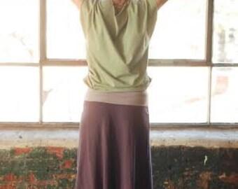 ORGANIC eco friendly maxi skirt simple cozy womens stretch purple SMALL MEDIUM ready to ship