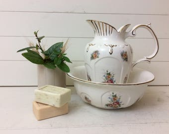 Jug and basin vintage~shabby chic with flowers~wash bowl~bathroom soap~pitcher