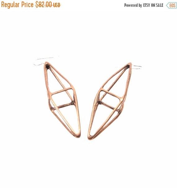40% OFF // octahedron earrings // oxidized bronze