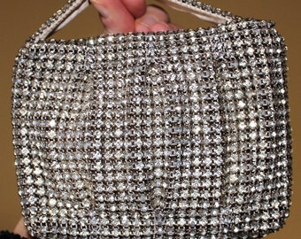 RARE Vintage 1930's Czechoslavakian Heavy Pleated Prong-Set Rhinestone Encrusted Wedding Cocktail Evening Bag