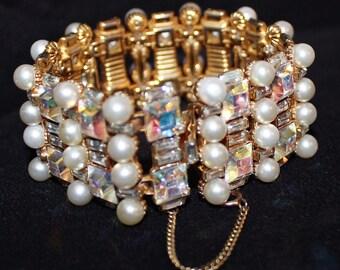 Vintage 1960's Bogoff Large Chunky Pearl AB Gold Wide Bracelet