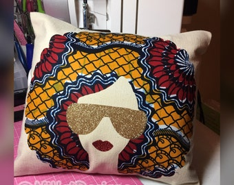 Afro Glam Diva Decor Pillow 12x12 Throw Pillow Accent Pillow Housewarming Ankara African Print Fabric