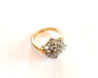 Cubic Zirconium Cluster Ring, 14K Gold, Vintage Jewelry, CHRISTMAS SALE