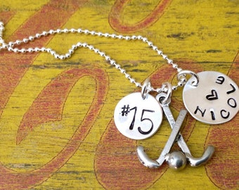 Special sandy Field Hockey Player Mom  Girl Custom Sports Necklace  Personalized Player Pendant Ball Custom Charm