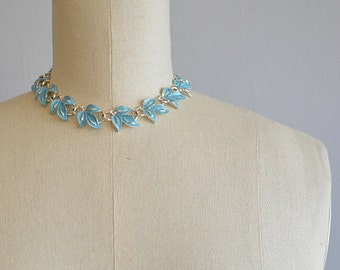 Vintage 50s Coro Necklace / 1950s Turquoise Blue Leaf Enamel Choker / Vintage Jewelry