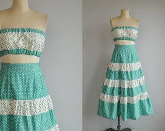 Vintage 1940s Sun Dress/ 40s Polka Dot Play Suit Strapless Bandeau Midriff Bra Top Circle Skirt Beach Set