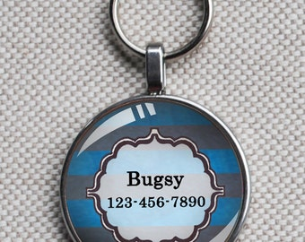 Pet iD tag one inch round CAT ID small breed Dog Tag Dog tag Cat Tag by California Kitties bright striped blue round ID CT6668