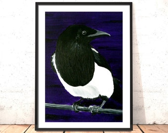 Magpie Print | Four for a Boy - Print of Original Magpie Oil Painting | Magpie Painting | Bird Art | Purple Painting | Gift for Friend