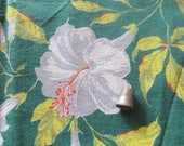 vintage FULL feed sack fabric -- tropical floral print