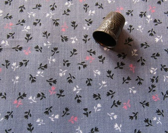 pink and gray floral print vintage cotton blend fabric