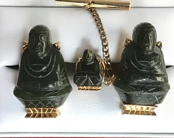 Rare Original Vintage SWANK Jade Buddha Cufflink Set