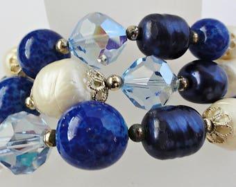 Beautiful Vendome Three Strand Bracelet Shades of Blue Baroque Pearl Lapis Art Glass Dark Blue Light Blue All Glass Beads 8 Inches