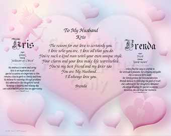 HUSBAND Personalized Gift and Keepsake